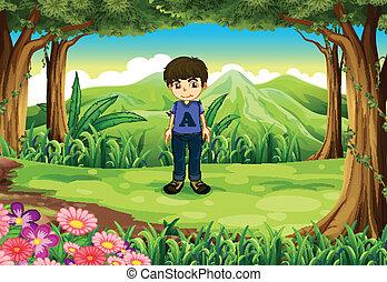 chłopiec, bojaźliwy, młody, las