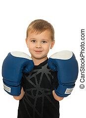 chłopiec, boks rękawiczki