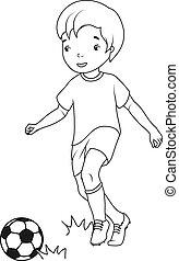 chłopiec, book:, kolorowanie, grając soccer