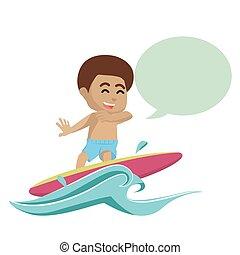 chłopiec, callout, afrykanin, surfing
