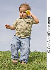 chłopiec, cellphone
