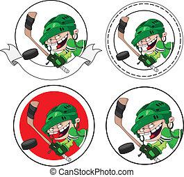 chłopiec, chorągiew, hokej