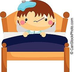 Chłopiec, chory, łóżko