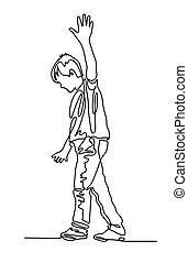 chłopiec, ciągły, kreska, jeden, linoskoczek, przechadzki, wzdłuż, rysunek