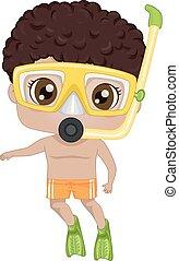 chłopiec, czarnoskóry, koźlę, ilustracja, snorkeling