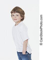 chłopiec, dżinsy, młody, t-shirt, uśmiechnięty szczęśliwy