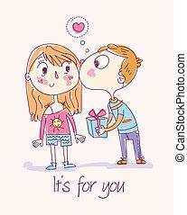 chłopiec, dar, policzek, pocałunki, dziewczyna, daje