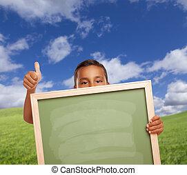 chłopiec, do góry, kreda, pole, kciuki, dzierżawa, czysty, deska