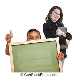 chłopiec, do góry, kreda, za, kciuki, czysty, nauczyciel, deska