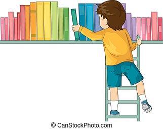 chłopiec, drabina, książki, koźlę