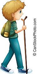 chłopiec, drewno, hiking