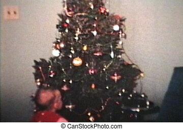 chłopiec, drzewo, boże narodzenie, (1962)