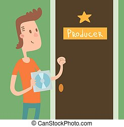 chłopiec, drzwi, illustration., producent, muzyk, pukanie,...