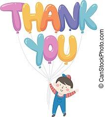 chłopiec, dziękować, ilustracja, ty, balony, koźlę
