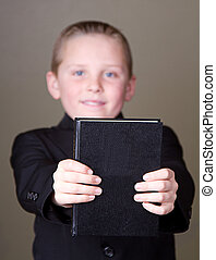 chłopiec, dzierżawa, książka, poza