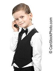 chłopiec, dzierżawa, niejaki, cellphone