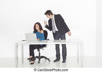 chłopiec, dziewczyna, biuro, rozkrzyczany