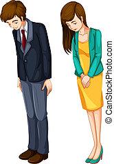chłopiec, dziewczyna, formalny, ich, attires