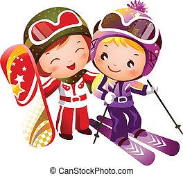 chłopiec, dziewczyna, narciarstwo
