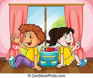 chłopiec, dziewczyna, okno