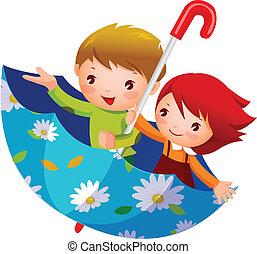 chłopiec, dziewczyna, parasol