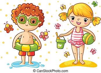 chłopiec, dziewczyna, plaża.