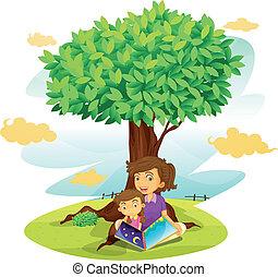 chłopiec, dziewczyna, pod, drzewo, badając