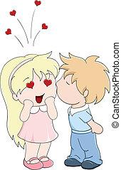 chłopiec, dziewczyna, policzek, pocałunki