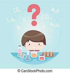 chłopiec, elementy, pytanie, ilustracja, marka, koźlę