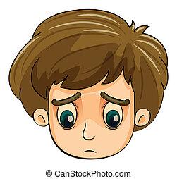chłopiec, głowa, młody, smutny