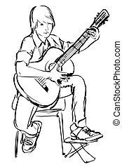 chłopiec, gitara grająca, rys