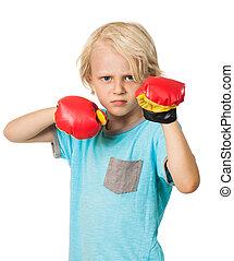 chłopiec, gniewny, boks rękawiczki, poważny