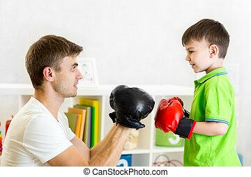 chłopiec, gra, boks, ojciec, koźlę