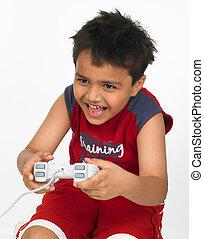chłopiec, gra, jego, interpretacja, stacja