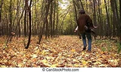 chłopiec, gra, ojciec, park, jesień, samolot