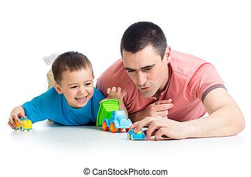 chłopiec, gra, wóz, ojciec, zabawki, koźlę