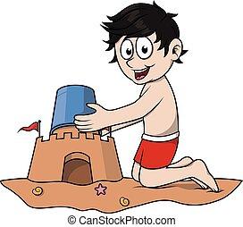 chłopiec, gra, zamek, piasek
