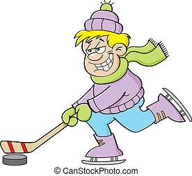 chłopiec, grając hokej, rysunek