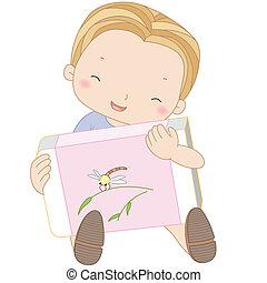 chłopiec, gumka do wycierania, ilustracja