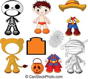 chłopiec, halloween, kostiumy, p