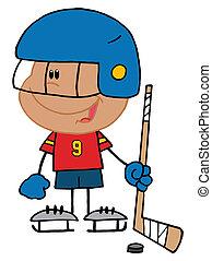 chłopiec, hokej, interpretacja, bramkarz