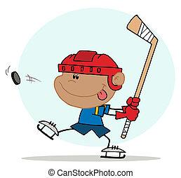 chłopiec, hokej, interpretacja, hispanic