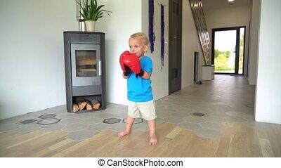 chłopiec, home., rękawiczki, gimbal, boks, ruch, sprytny