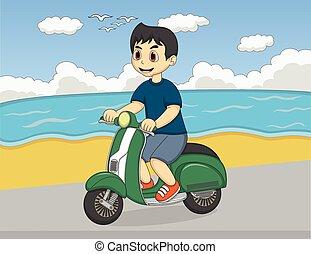 chłopiec, hulajnoga, plaża, jeżdżenie
