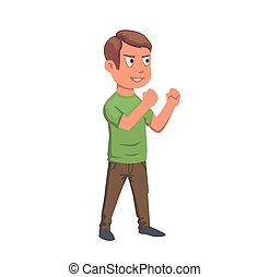 chłopiec, illustration., płaski, character., odizolowany, dostając, t-shirt, tło., wektor, zielony, nastolatek, gotowy, walka, biały