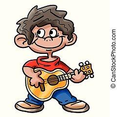 chłopiec, ilustracja, grając gitarę, hispanic, wektor, rysunek