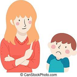 chłopiec, ilustracja, kiepski, działać, nauczyciel, koźlę