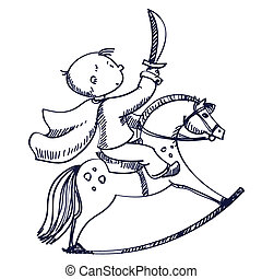 chłopiec, ilustracja, koń, wektor