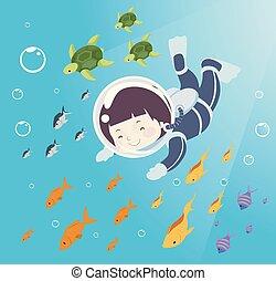 chłopiec, ilustracja, morze, nurkowanie, stworzenia, koźlę