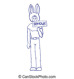 chłopiec, ilustracja, poważny
